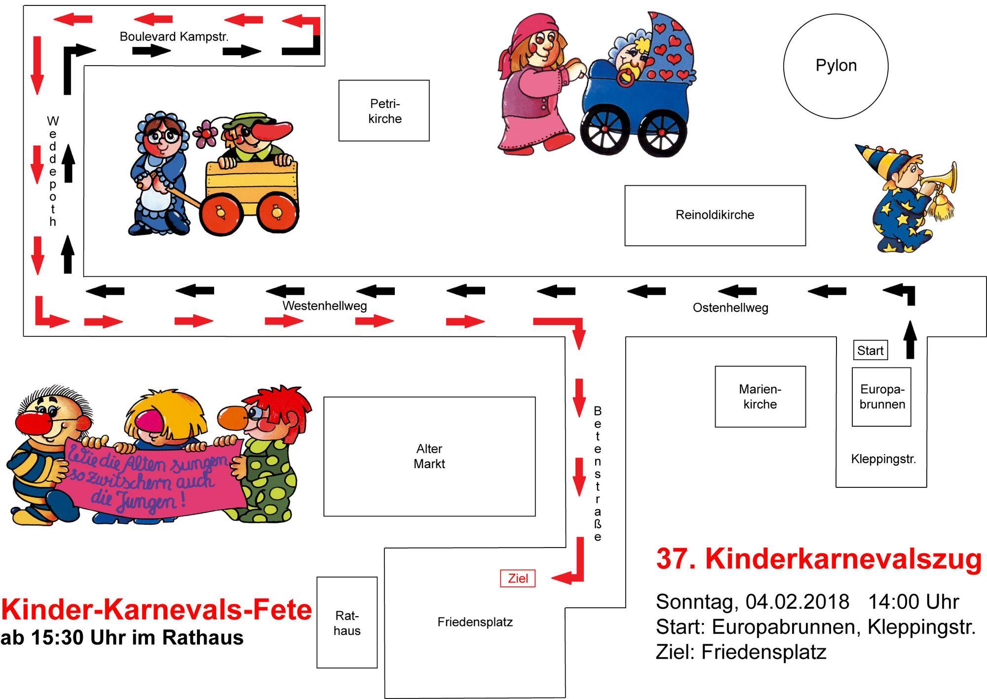 Zugstrecke Kinderkarnevalszug Dortmund 2018 - Quelle: http://www.dortmunderkarneval.de/festausschuss-dortmunder-karneval/kinderkarnevalszug.htm