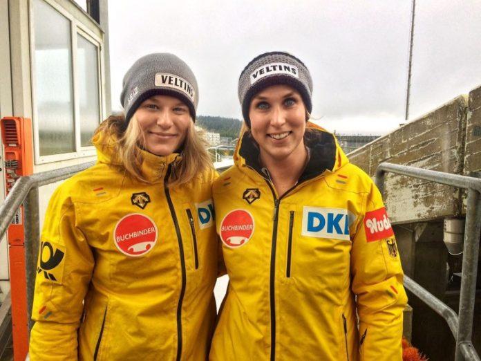 Bobpilotin Anna Köhler (links) und Anschieberin Erline Nolte (rechts) nehmen an den Olympischen Winterspielen 2018 in Pyeongchang (Südkorea) teil. Bild: Bobsportverband