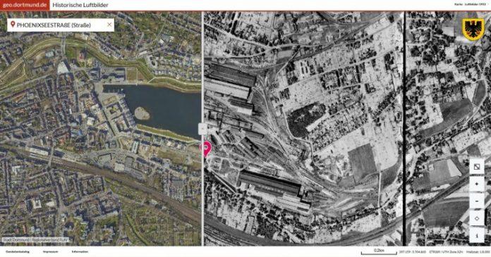 Das Geoportal ermöglicht einen Blick in die Vergangenheit. Ein Beispiel: Das Gelände des Phoenix Sees im Jahr 2016 und im Jahr 1952 im direkten Vergleich. Bild: Stadt Dprtmund / Regionalverband Ruhr